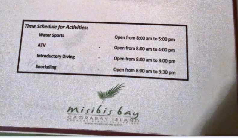 misibis bay water sports schedule